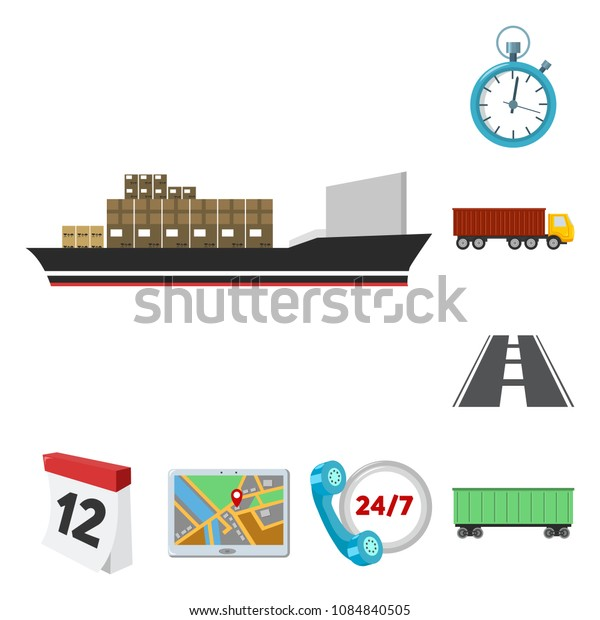 Logistics service cartoon icons in set collection for design. Logistics and equipment vector symbol stock web illustration.