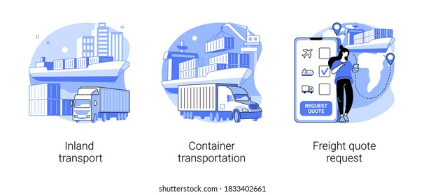 Logistics service provider abstract concept vector illustration set. Inland transport, container transportation, freight quote request, land port, ship loading, shipping proposal abstract metaphor.