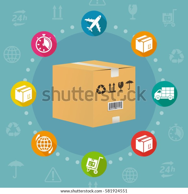 Logistics and shipment flat design style vector concept