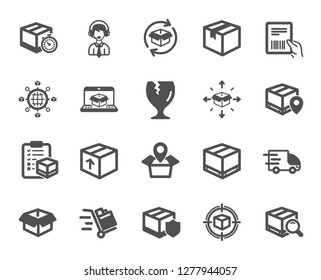 Logistics, Shipping document icons. Set of Truck Delivery, Box and Checklist icons. Parcel tracking shipping, World trade logistics. Location pin, Goods parcel insurance and document. Vector