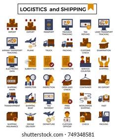 Logistics and shipping flat design icon set.