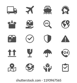 Logistics and shipping glyph icons