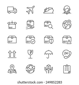 Logistics and shipping thin icons