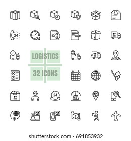Logistics Supply chain vector illustration thin line 48x48 Pixel Perfect 32 icon set for business, customer, transport, logistics, distribution, finance, information, shipment, parcel. Editable Stroke