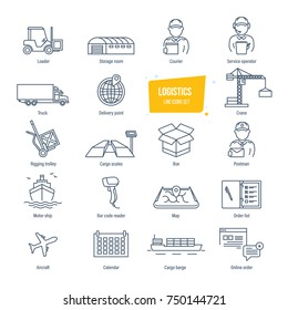 Logistics thin line icons, pictogram and symbol set. Icons for delivery, logistics. Packing, shipping, transportation, tracking, parcel. Transport, service employees, buildings. Vector illustration.