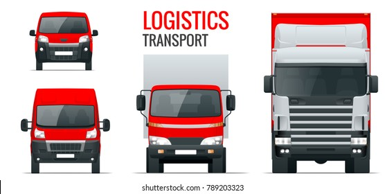 Logistics transport. Front view truck trailer, Semi truck, cargo delivery, van and minivan. Blank Freight delivery trucks. Isolated cargo vehicle set on white.