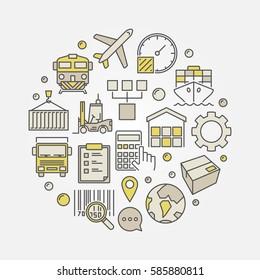 Logistics and transportation circular illustration - vector colorful logistic sign
