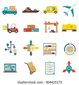 Logistics transportation and delivery flat icons set isolated vector illustration