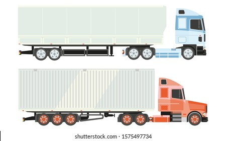 Logistics and transportation, lorry truck isolated icons vector. Cabin and freight or cargo, shipping and delivery, side view, advertisement placement. Industrial transport or vehicle, haulage