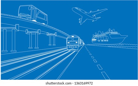 Logistics and transportation of  ship and plane with bus concept blue print transport,Vector illustration