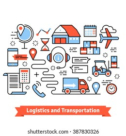 Logistics and transportation. Warehouse center, truck, forklift, goods delivery.  Thin line art flat illustration with icons.