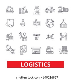 Logistics, transportation, warehouse, supply chain, truck, distribution, ship line icons. Editable strokes. Flat design vector illustration symbol concept. Linear signs isolated on white background