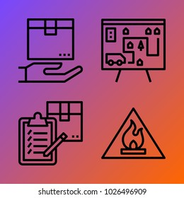 Logistics vector icon set consisting of 4 icons about flammable, box, delivery, clipboard and list