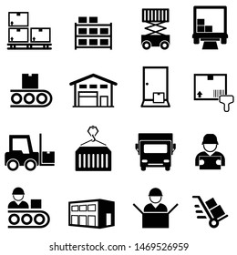 Logistics, warehouse, distribution center, delivery and shipping web line icon set