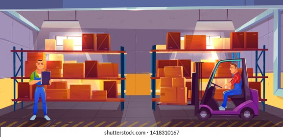 Logistics, warehouse interior with worker driving forklift and inspector checking list of delivered cargo, delivery, goods postal service. Storehouse with racks of boxes. Cartoon vector illustration.
