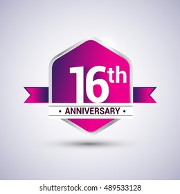 Logo 16th anniversary celebration isolated in red hexagon shape and red ribbon colored, vector design.