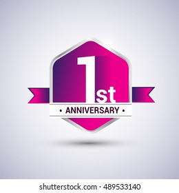 Logo 1st anniversary celebration isolated in red hexagon shape and red ribbon colored, vector design.