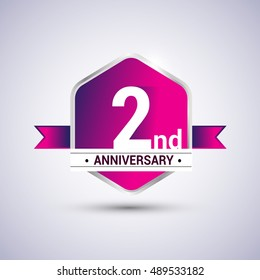 Logo 2nd anniversary celebration isolated in red hexagon shape and red ribbon colored, vector design.