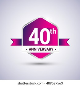 Logo 40th anniversary celebration isolated in red hexagon shape and blue ribbon colored, vector design.