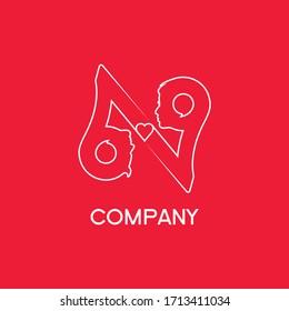 Logo 69 love chatting lifestyle romantic art design
