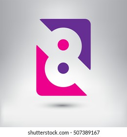 Logo 8 design.Number eight logo.Logotype vector template.