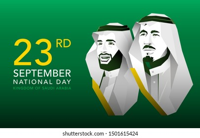 logo 89 years of The national holiday of the Kingdom of Saudi Arabia, is celebrated on September 23. Graphic design flags and symbolic green colors. King Salman. Prince Crown Mohammed.