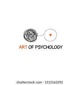Logo about psychology, psychotherapy with messy and clear balls. Concept logotype about mind, soul transformation