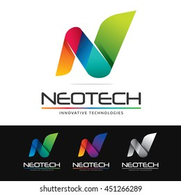 Logo of an abstract colorful shape or N letter. This logo is suitable for many purpose as designer and publicity agency, corporate identity, company name beginning with N and more.