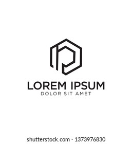 logo with abstract letter concept IP hexagon