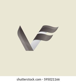 Logo Abstract letter VF with grey white gradient color on cream background