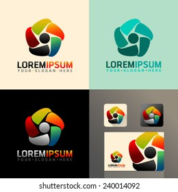 Logo and Abstract web Icon and heart vector identity symbol. Unusual icon  on business card c464bc0d7eec