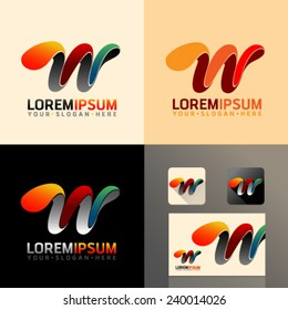 Logo and Abstract web Icon and letter w vector identity symbol. Unusual icon on business card. Graphic design easy editable for Your design.  Modern logotype icon.