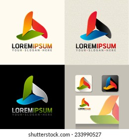 Logo and Abstract web Icon and triangle vector identity symbol. Unusual icon on business card. Graphic design easy editable for Your design.  Modern logotype icon.