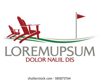 Logo with adirondack chairs on golf course.