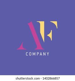 Logo AF letters. Company logo. Monogram logo.