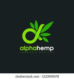 logo alpha hemp, with symbolic infinity and cannabis  vector