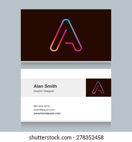 "Logo alphabet letter ""A"", with business card template. Vector graphic design elements for your company logo."
