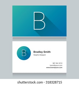 """Logo alphabet letter """"B"""", with business card template. Vector graphic design elements for your company logo."""