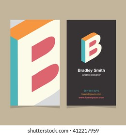 """Logo alphabet letter """"B"""", with business card template. Vector graphic design elements for company logo."""