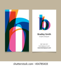 "Logo alphabet letter ""b"", with business card template. Vector graphic design elements for company logo."