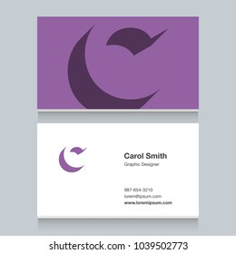 """Logo alphabet letter """"C"""", with business card template. Vector graphic design elements for company logo."""