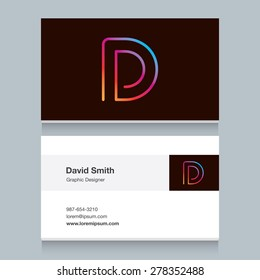 "Logo alphabet letter ""D"", with business card template. Vector graphic design elements for your company logo."