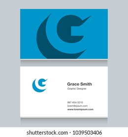 """Logo alphabet letter """"G"""", with business card template. Vector graphic design elements for company logo."""