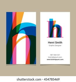"Logo alphabet letter ""h"", with business card template. Vector graphic design elements for company logo."