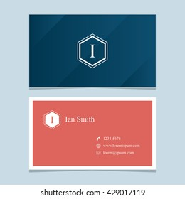"Logo alphabet letter ""I"", with business card template. Vector graphic design elements for company logo."