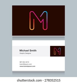 "Logo alphabet letter ""M"", with business card template. Vector graphic design elements for your company logo."