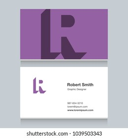 """Logo alphabet letter """"R"""", with business card template. Vector graphic design elements for company logo."""