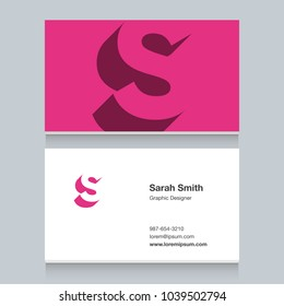 """Logo alphabet letter """"S"""", with business card template. Vector graphic design elements for company logo."""