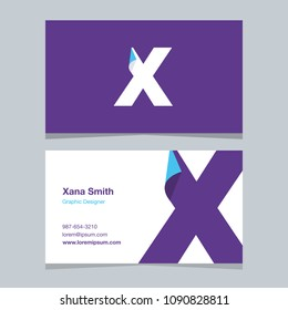 "Logo alphabet letter ""X"", with business card template. Vector graphic design elements for company logo."