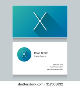 """Logo alphabet letter """"X"""", with business card template. Vector graphic design elements for your company logo."""